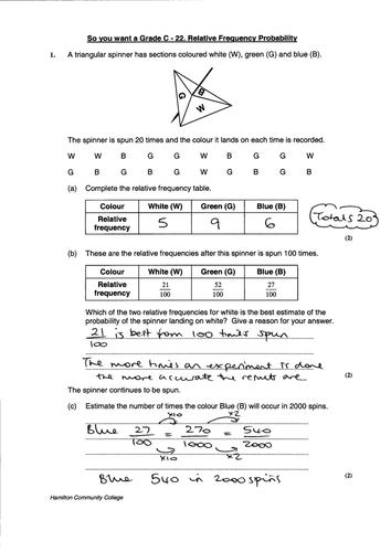 Gcse Maths Relative Frequency Worksheet By Mrbuckton4maths