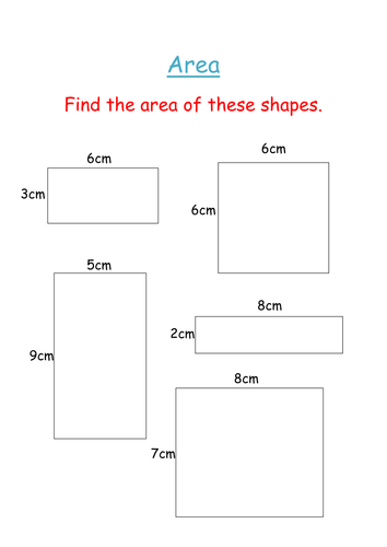 Area of squares and rectangles worksheet | Teaching Resources