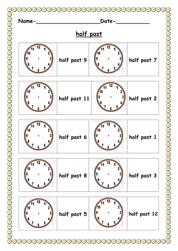 Half past worksheet by ruthbentham - Teaching Resources - TES