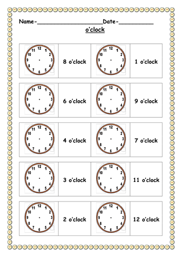 o 39 clock worksheets by ruthbentham teaching resources tes. Black Bedroom Furniture Sets. Home Design Ideas