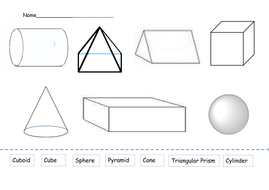 3D Shapes Worksheet by alisond81 | Teaching Resources