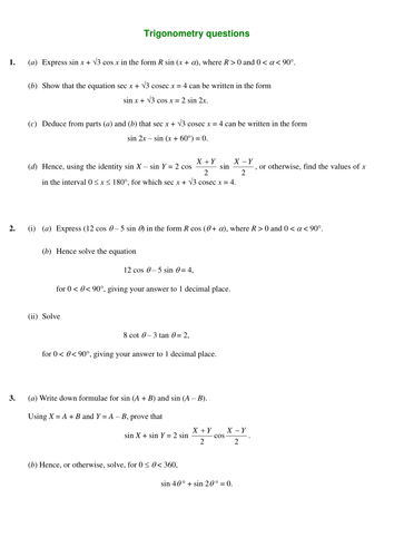 Mixed Trigonometry Questions By Srwhitehouse Teaching