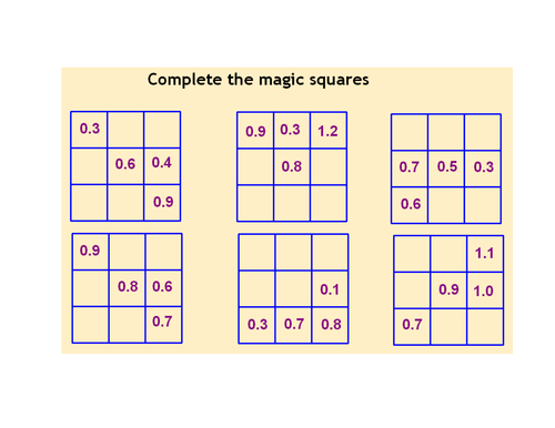 Collection Of Worksheet Works Magic Squares Decimals Answers