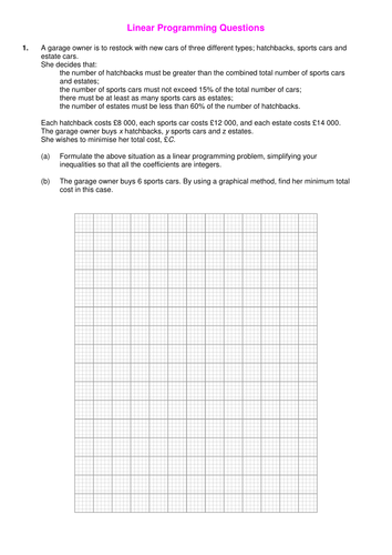 Printables Linear Programming Worksheet linear programming worksheet by srwhitehouse teaching resources questions doc preview resource