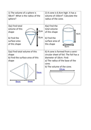Maths: Area & Volume of pyramids cones worksheet