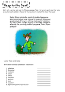 Counting syllables: starter activity