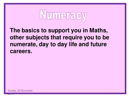 Numeracy for Y11 Form Time