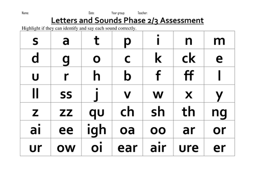 Printables Phonics Test Worksheets phonics homework reception phase phonic assessments by tda teaching resources tes