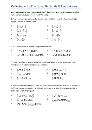 Worksheets Ordering Fractions And Decimals Worksheet ordering fractions decimals percentages by tristanjones teaching resources tes