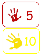 Counting in 5s handprints