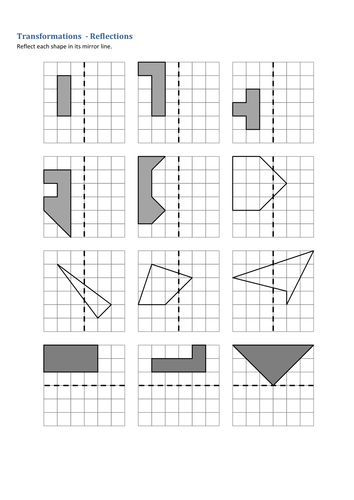 maths transformations reflections worksheet by tristanjones teaching resources tes. Black Bedroom Furniture Sets. Home Design Ideas