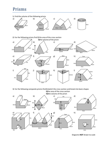 Volumes of Prisms. Worksheet by Tristanjones - Teaching Resources ...