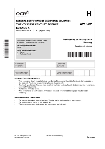 Strand C   OCR GCSE Science Investigation Controlled Assessment     OCR Computing Unit A    Course Companion