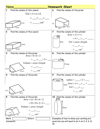 hw volume of prisms cylinders by tristanjones teaching resources tes. Black Bedroom Furniture Sets. Home Design Ideas