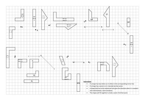 Reflect, rotate, translate jigsaw. Worksheets, KS3 by Tristanjones ...