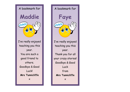 End of Year Class Bookmarks