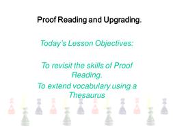 Kinaesthetic proof Reading - level 4