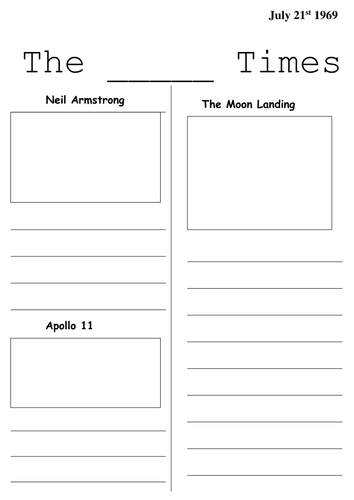 Moon Landing Newspaper Templates By Cmann00 Teaching Resources Tes