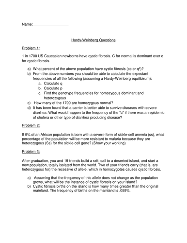 hardy weinberg questions worksheet by janehughes11 teaching resources tes. Black Bedroom Furniture Sets. Home Design Ideas