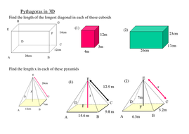 Using Pythagoras in 3D Shapes - GCSE