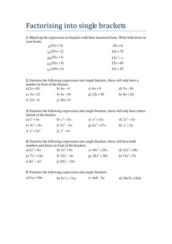gcse factorising into single brackets worksheet by tristanjones teaching resources tes. Black Bedroom Furniture Sets. Home Design Ideas