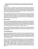 AO1 content for Biological Depression