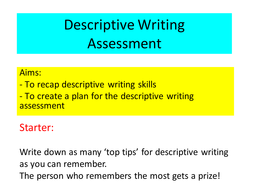 Descriptive writing- planning and visualisation