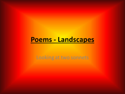Landscapes in two sonnets - poems and activites