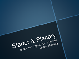 Starter and Plenary Round-up