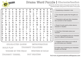 Drama Word Puzzle Activity Sheet with Questions