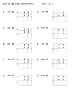 column addition worksheets by mariawiddows  teaching resources  tes   digit add carry hundreddoc