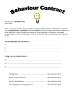 Behaviour Contract By Luckyiffy Teaching Resources Tes