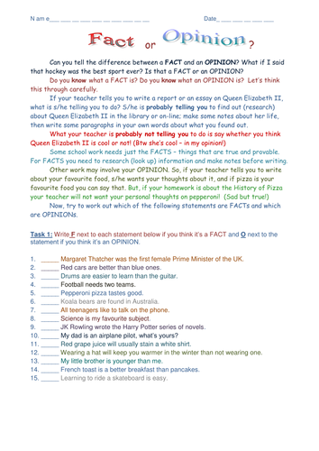 Fact And Opinion Worksheets Ks2 Proga Info