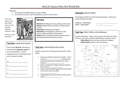 what were the m a i n causes of wwi by ccking uk teaching resources tes. Black Bedroom Furniture Sets. Home Design Ideas