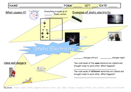 Static Electricity Worksheet by oldplumtree  Teaching Resources  TES