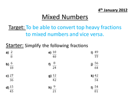 mixed numbers and top heavy fractions by ems  teaching resources  activity pptx  kb mixed numbers  top heavy fractions