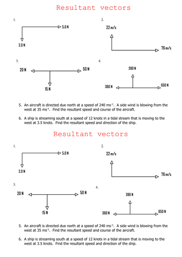 Resultant Vectors By Kate M Flynn Teaching Resources Tes