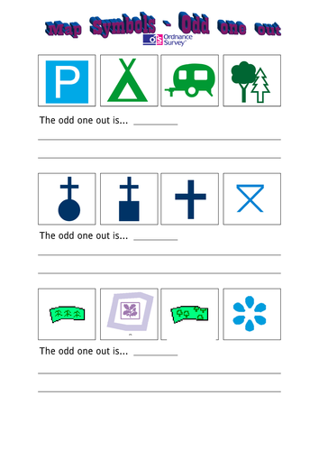 map symbols odd one out worksheet by specialrach teaching resources tes. Black Bedroom Furniture Sets. Home Design Ideas