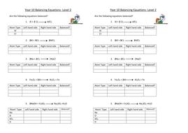 Balancing equations - Level 2