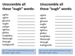ough spelling words unscramble
