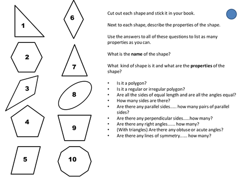 Properties of 2D shapes by cathyve Teaching Resources TES – 2d Shapes Worksheet