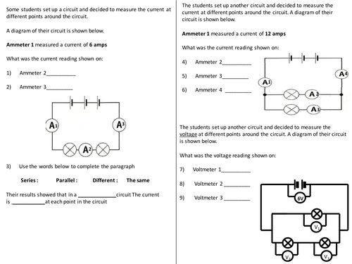 current voltage in circuits questions worksheet by. Black Bedroom Furniture Sets. Home Design Ideas