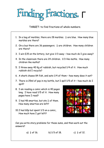 Fractions of amounts, including real life. by duncant01 - Teaching ...