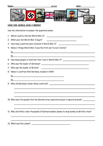 How did World War II begin? by mike ennington - Teaching Resources ...