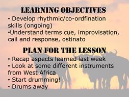African Drumming week 2- instruments