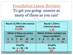 Foundation Linear Basic Revision powerpoint