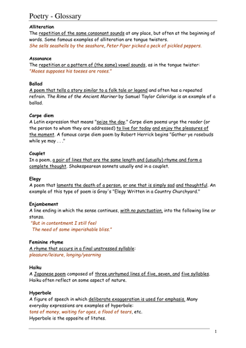of Poetry Terms Worksheet - Sharebrowse