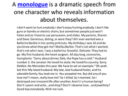 The Demon Headmaster - What is a monologue