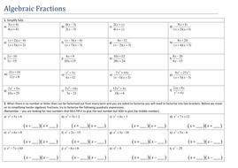 Simplifying Algebraic Fractions By Tristanjones Teaching Resources