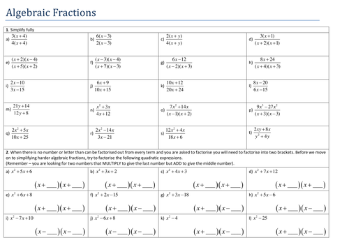 Simplifying Algebraic Fractions Resources Tes